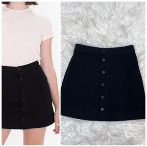 American Apparel black denim button down skirt S